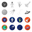 Planet Earth with continents and oceans, flying satellite, Ursa Major, UFO. Space set collection icons in monochrome,flat style vector symbol stock illustration web.