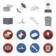 Broken TV monitor, banana peel, fish skeleton, garbage bin. Garbage and trash set collection icons in monochrome,flat style vector symbol stock illustration web.