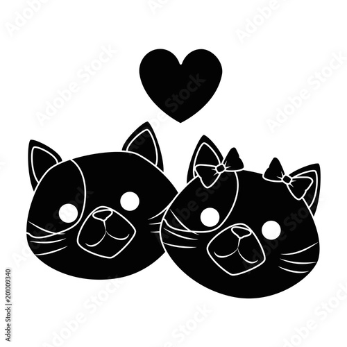 Fotobehang Draw cute cats mascots head with hearts characters vector illustration design