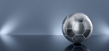 Metal Soccer Ball On A Mirror Blue Background. 3d Render Illustration.