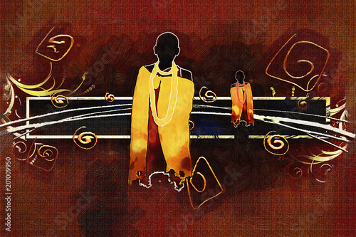 african ethnic retro vintage illustration