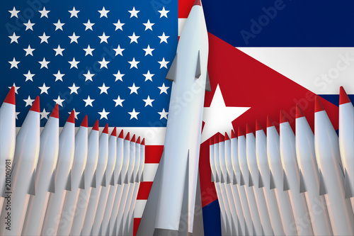 Photo Missiles of USA and Cuba in a row and their flags