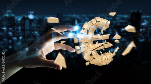 Tuinposter Fietsen Businesswoman with exploding euro currency 3D rendering