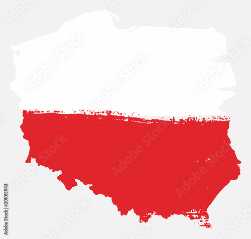Poland Flag & Map Vector Hand Painted with Rounded Brush Canvas Print