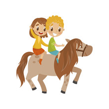 Cute Litlle Boy And Girl Riding A Horse, Equestrian Sport Concept Cartoon Vector Illustration On A White Background