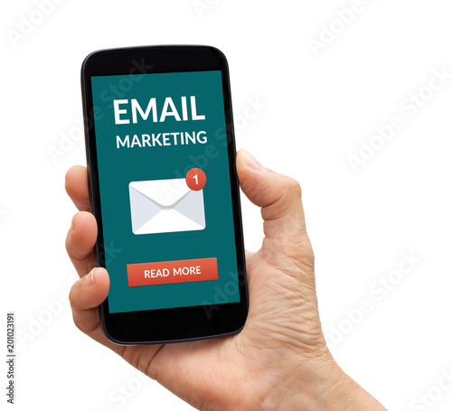 Hand holding a black smart phone with email marketing concept on screen. Isolated on white background. All screen content is designed by me.
