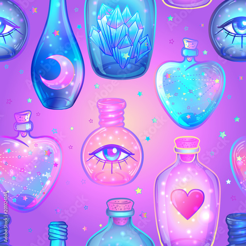 Fototapeta Vector seamless pattern with glass flasks. Magic potions: tubes and bottles. Wrapping paper. Titled illustration. Magical elements: moon, crystals, Saturn,  Alchemy, science. obraz
