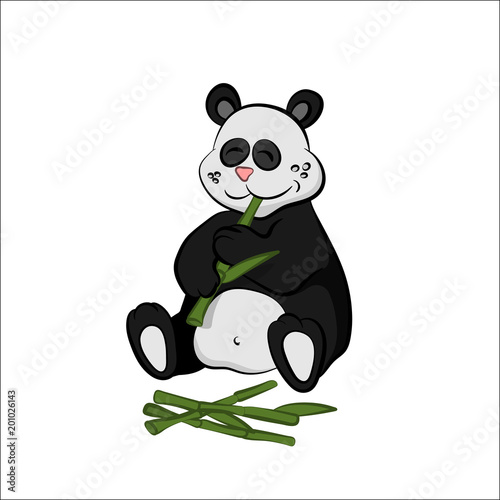 Poster de jardin Chambre bébé Animals of zoo. Panda eating bamboo in cartoon style. Isolated cute character. Vector illustration