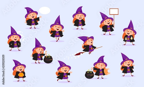 Witch Halloween Girl in witch costume with pumpkin, potty for potion, poster, sp Fotobehang
