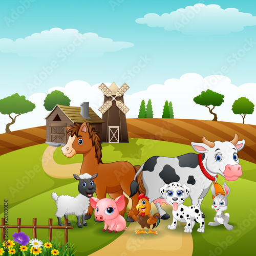 Foto op Canvas Honden Animals group at the path of farm