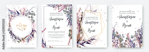 Obraz Wedding invitation frame set; flowers, leaves, watercolor, isolated on white. Sketched wreath, floral and herbs garland with green, greenery color. Handdrawn Vector Watercolour style, nature art. - fototapety do salonu