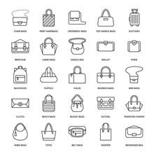 Women Handbags Flat Line Icons...