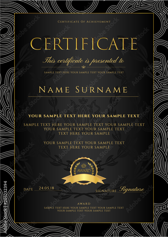 Certificate, Diploma (golden design template, background with floral ...