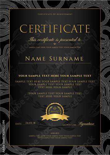 Certificate Diploma Golden Design Template Background With Fl Filigree Pattern Scroll Border Gold Frame Of Achievement Coupon Award