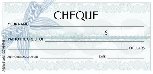 Check (cheque), Chequebook template Canvas Print