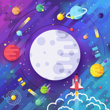 Set Of Huge Universe Infographic Illustration. Outer Space Rocket Flying Up Into The Solar System With A Lot Of Planets Background. Vector Thin Lines Icons Stars In Galaxy Design Concept.