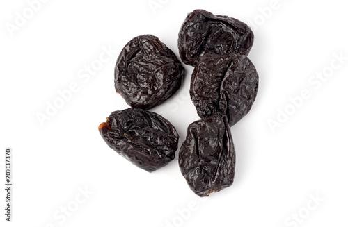 Prunes isolated on white background