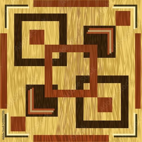 Obraz na plátně Wooden square inlay, dark wood patterns on light background