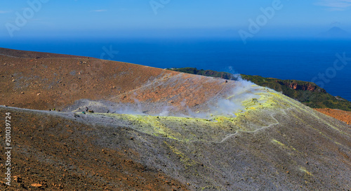 Papiers peints Cappuccino Sulphur gas coming out of the edge of the volcanic crater on the Vulcano island in the Aeolian islands, Sicily, Italy