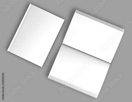 Fotografering  Hardcover book mockup, open and closed books with blank cover and spreading pages