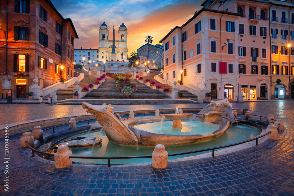 Fototapety, obrazy: Rome. Cityscape image of Spanish Steps in Rome, Italy during sunrise.