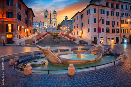 Montage in der Fensternische Rom Rome. Cityscape image of Spanish Steps in Rome, Italy during sunrise.