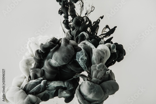 Fototapety, obrazy: close up view of mixing of light gray and black paints splashes in water isolated on gray