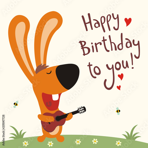 Birthday Card With Cartoon Rabbit Funny Guitar Sings