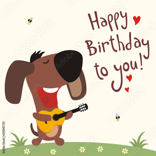 Birthday Card With Cartoon Puppy Dog Funny Guitar Sings Song Happy
