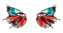 Red Fairy Eyes With Makeup, Red And Green Turquoise Wings Of Butterfly Shape Eyeshadows, Hand Painted Watercolor Fashion Illustration Isolated On White Background