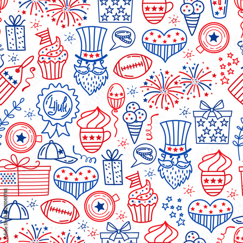 4 july. USA independence day seamless background.Hand draw traditional United States symbols . Doodle style vector illustration