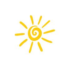 Sun Spiral Icon, Hand Drawn