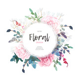 Fototapeta Kwiaty - Vector round botanical frame with pale pink roses, green leaves and plants. Light romantic floral design.