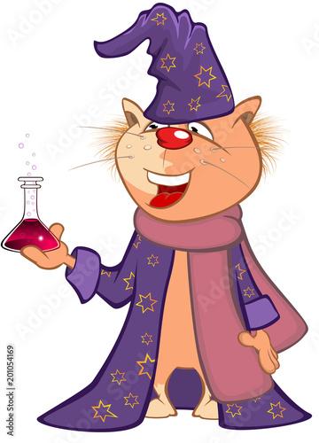 Poster Babykamer Illustration of a Cute Cat. Cartoon Character