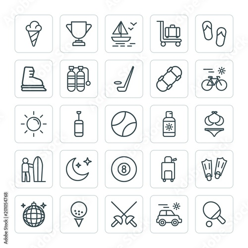 Modern Simple Set of sports, travel Vector outline Icons