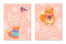 Happy Holidays Greeting Card With Squirrels Acorn