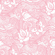 Vintage Floral Pink Background. Beautiful Elegant Ethnic Hand Drawn Vintage Wallpaper. Seamless Pattern With Abstract Flowers