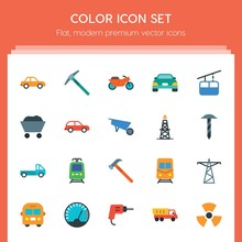 Modern Simple Set Of Transports, Industry Vector Flat Icons. ..Contains Such Icons As  Side, Motorbike,  Bus, Power,  Yellow,  Street, Car And More On Red Background. Fully Editable. Pixel Perfect..
