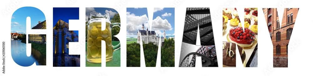 Fototapety, obrazy: Germany collage on white