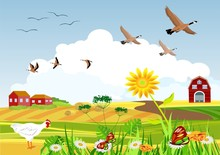 Countryside Vector Illustration, Migratory Birds Flying Above Little Village, Spring, Summer Outside View