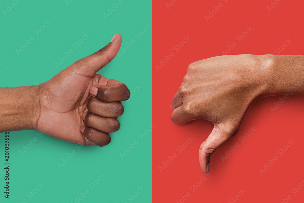 Fototapety, obrazy: Black hands with thumb up and down gestures
