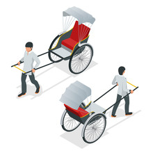 Isometric Hand Pulled Rickshaw, Rickshaw China Or Indian Vector. Front And Rear View.
