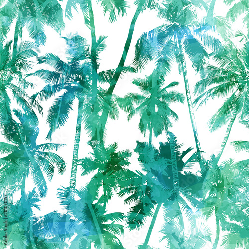 Poster Watercolor Nature seamless palm pattern