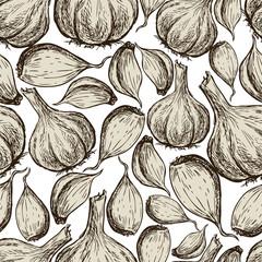Fototapeta Seamless background of the ripe garlic