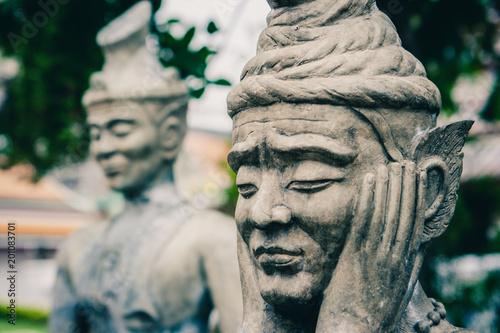 Chinese stone statue at the Wat Pho Temple, Bangkok, Thailand Poster