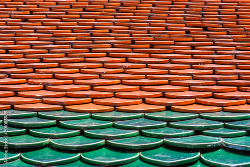 Pattern of red and green tiles on a roof Poster