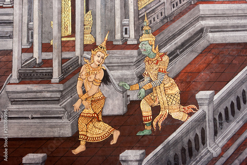 Wall paintings depicting the myth of Ramakien in the Wat Phra Kaew Palace, also known as the Emerald Buddha Temple Poster