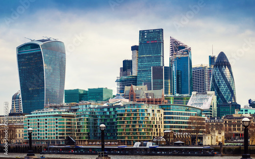 London, England - Panoramic view of Bank, London's leading financial district wi Canvas Print