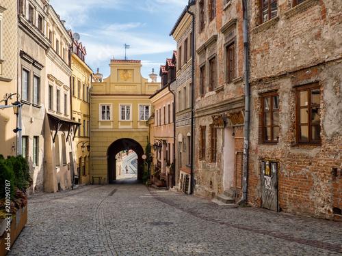Obraz City gate and street view of Lublin city in Poland - fototapety do salonu