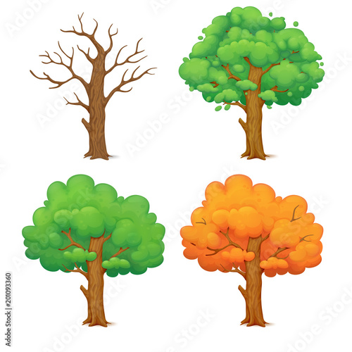 Cartoon Tree In Four Seasons Leafless Winter Tree Spring Tree With Sparse Green Foliage Lush Green Summer Tree And Orange Autumn Tree Buy This Stock Vector And Explore Similar Vectors At Choose from over a million free vectors, clipart graphics, vector art images, design templates, and illustrations created by artists worldwide! cartoon tree in four seasons leafless
